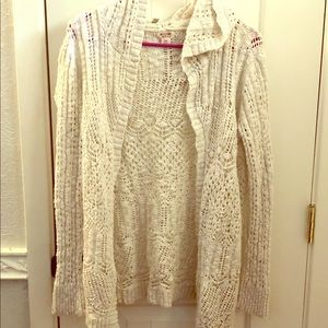 Cream Crocheted Hooded Cardigan